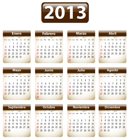 Brown calendar for 2013 year in Spanish with torn papers. Vector illustration Stock Vector - 16762642