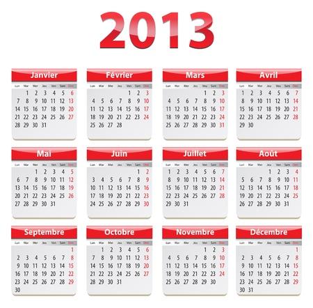 Calendar for 2013 year in French. Vector illustration Ilustração