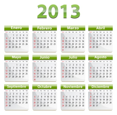 Green calendar for 2013 year in Spanish Stock Vector - 16828731