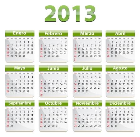 Green calendar for 2013 year in Spanish Ilustração