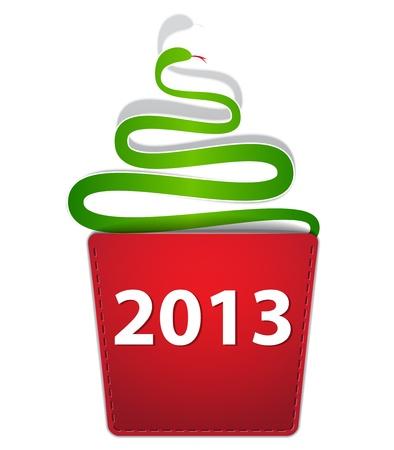 New Year snake like Christmas tree creeping from a pocket. Stock Vector - 16828743