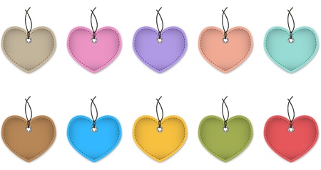Colorful leather labels in the shape of heart. Vector illustration Stock Vector - 16992396