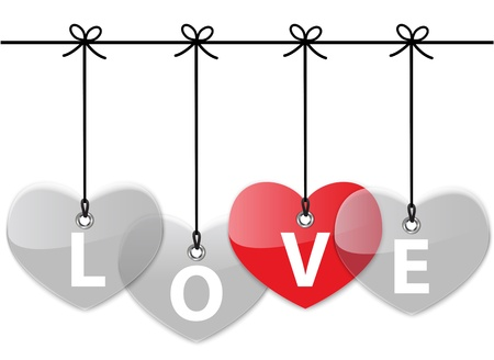 Red Glossy heart hanging with gray hearts with the word love. Vector illustration Stock Vector - 16992069