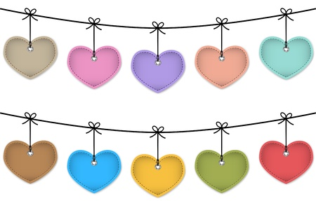 Colorful leather labels in the shape of hearts hanging like Christmas baubles. Price tags. Vector