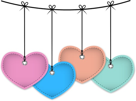 Colorful heart labels made of leather. Vector illustration Vector