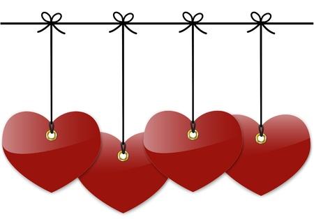 Dark red glossy hearts. Blank tags. Stock Vector - 17013212