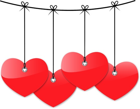 Red glossy hearts. Stock Vector - 17013213