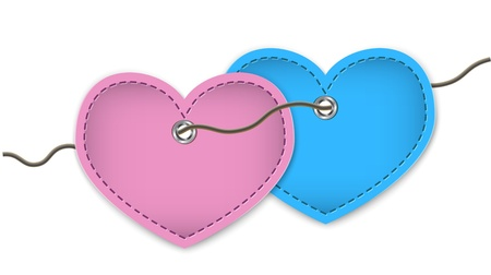 Pair of pink and blue leather hearts connected with a string. Stock Vector - 17043967