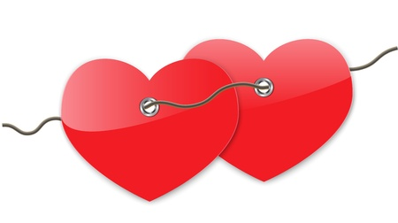 Pair of red glossy hearts connected with a string. Vector illustration Vector