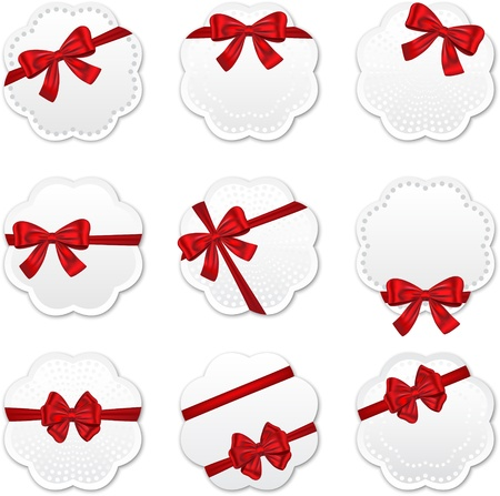 Gift cards with red ribbons and bows for celebrations. Vector illustration