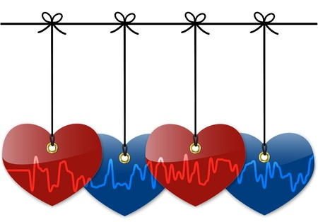 Hanging colorful hearts with cardiogram. Stock Vector - 17113215