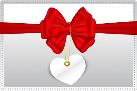 14 february: Valentine s Day gift card with heart tag hanging from red ribbon and bow  Vector illustration