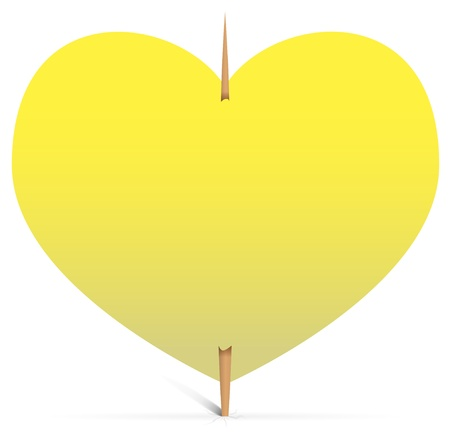 Blank yellow sticky note in the shape of heart on a toothpick  Vector illustration Vector