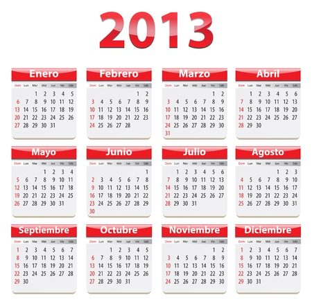 Red glossy calendar for 2013 year in Spanish language. Vector illustration Stock Vector - 17141889