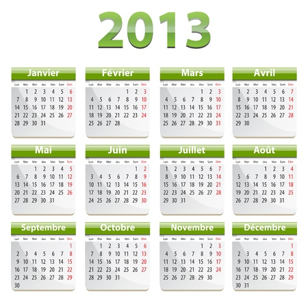 calendrier: Green calendar for 2013 year in French. Vector illustration