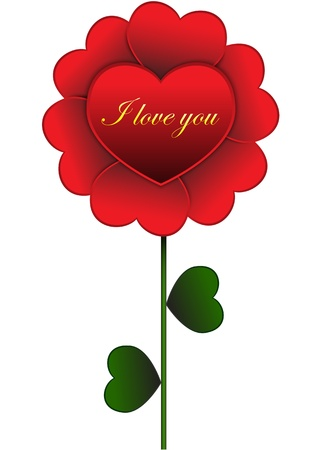 Flower made of red hearts Stock Vector - 17207831