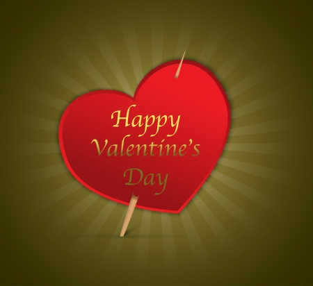 Happy Valentine's Day heart on green shiny background. Vector illustration Stock Vector - 17207827