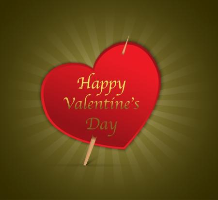 Happy Valentine's Day heart on green shiny background. Vector illustration Stock Vector - 17207827