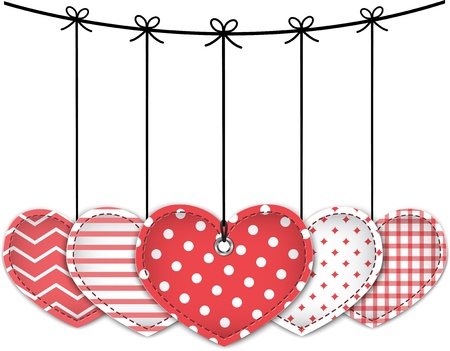 Valentine red textured hearts tied with bows hanging on white background. Vector