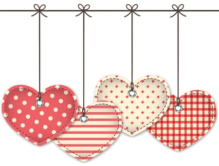 Valentine red textured hearts tied with bows hanging on white background. Stock Vector - 17331507