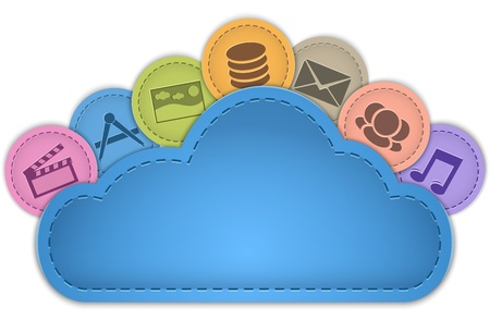 Cloud computing concept with multimedia, mail, apps, database, social icons made of leather on the cloud. Illustration