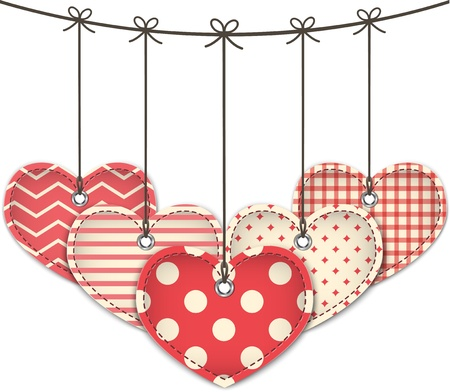Valentine textured hearts. Vector illustration Stock Vector - 17350228