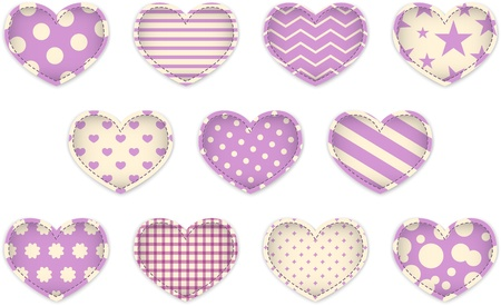 Valentine's Day pink textured hearts. Vector illustration Vector
