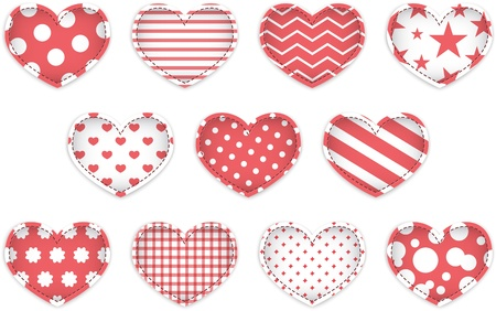 Red textured hearts for Valentine's Day. Vector illustration Stock Vector - 17350226