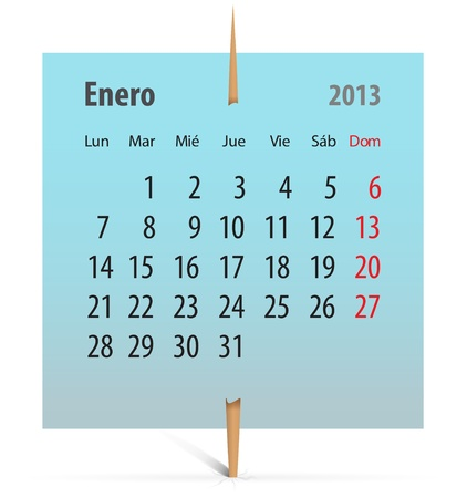 Calendar for January 2013 in Spanish on a sticker attached with toothpick. Vector illustration Vector