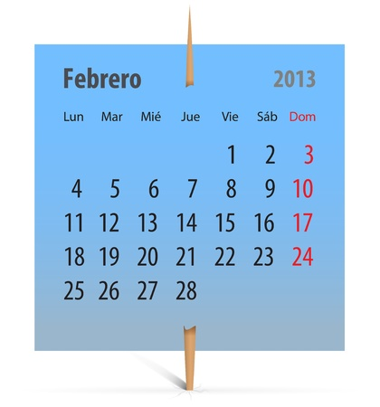 Calendar for February 2013 in Spanish on a blue sticker attached with toothpick. Vector illustration Stock Vector - 17370120