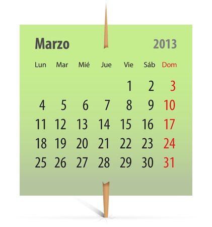 Calendar for March 2013 in Spanish on a green sticker attached with toothpick. Vector illustration Vector