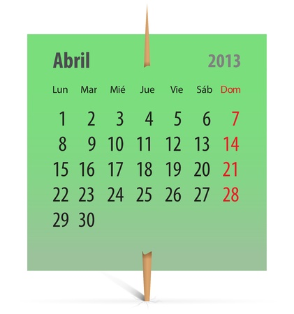 Calendar for April 2013 in Spanish on a green sticker attached with toothpick. Vector illustration Vector