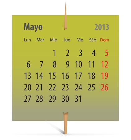 Spanish calendar for May 2013 on a green sticker attached with toothpick. Vector illustration Vector