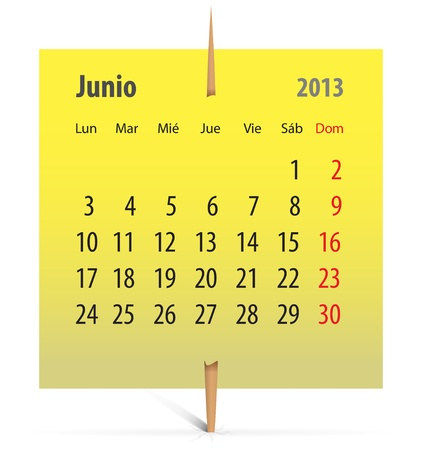 Spanish calendar for June 2013 on a yellow sticker attached with toothpick. Vector illustration