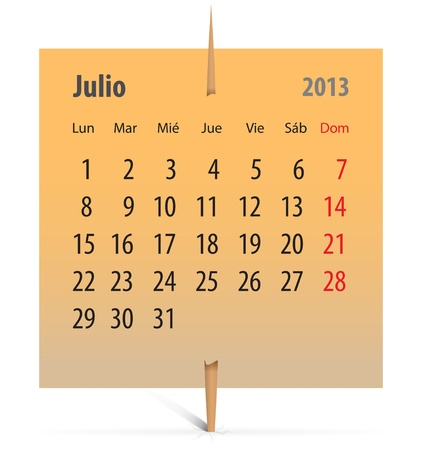 Spanish calendar for July 2013 on an orange sticker attached with toothpick. Vector illustration Vector