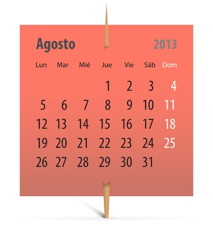 Spanish calendar for August 2013 on a sticker attached with toothpick. Vector illustration Stock Vector - 17370082