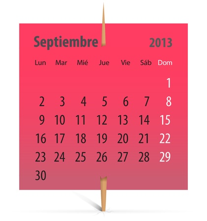 Spanish calendar for September 2013 on a red sticker attached with toothpick. Vector illustration Vector