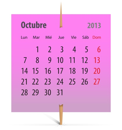 Spanish calendar for October 2013 on a pink sticker attached with toothpick. Vector illustration Vector