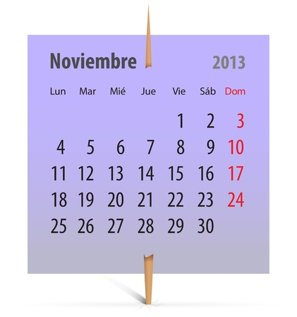 Calendar for November 2013 on a violet sticker attached with toothpick. Vector illustration Vector