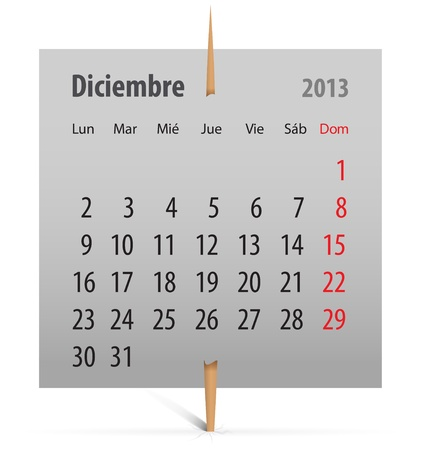 Spanish calendar for December 2013 on a gray sticker attached with toothpick. Vector illustration Vector