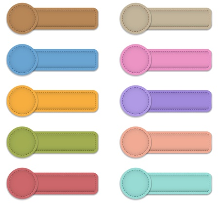 Blank colorful labels made of leather. Web button set. Vector