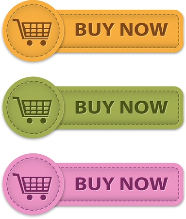 Buy Now buttons for online shopping made of leather. Imagens - 17411858