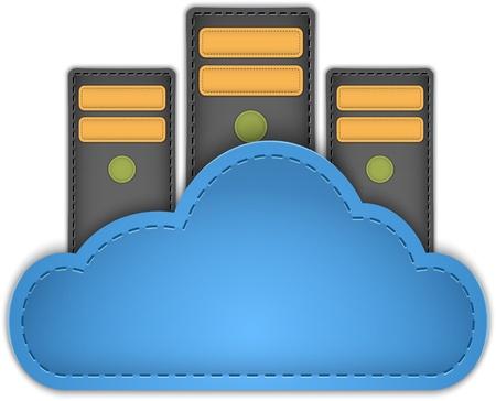 databank: Cloud computing concept met servers in de cloud gemaakt van leer. Stock Illustratie
