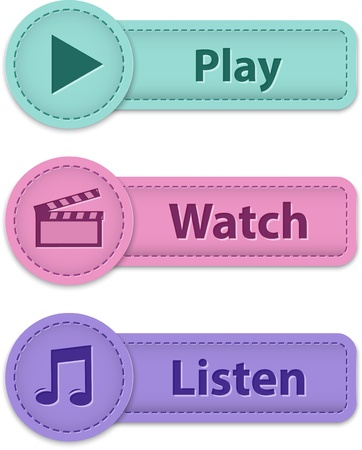 Multimedia web buttons for website or apps made of leather. Vector