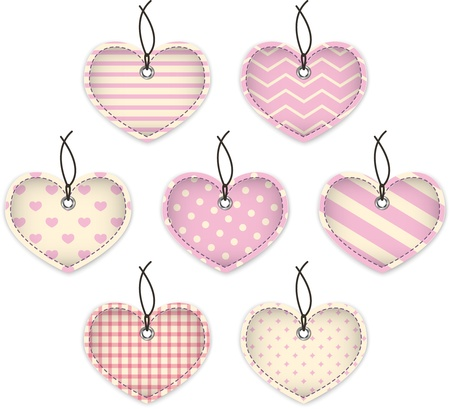 Pink textured hearts for Valentine's Day Vector