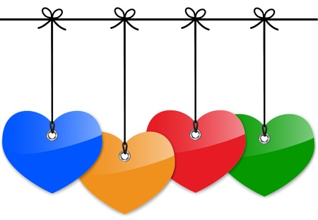 Glossy colorful heart labels. Vector illustration Stock Vector - 17526810