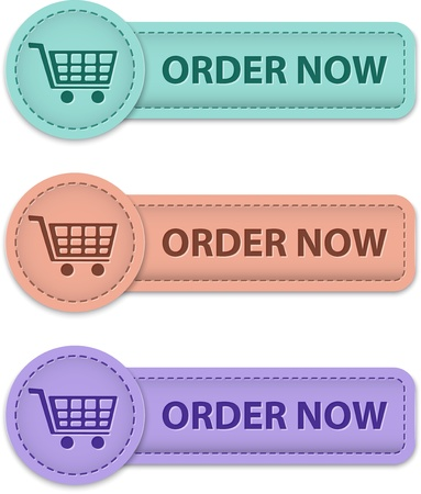 Order now commercial buttons made of leather. Vector illustration