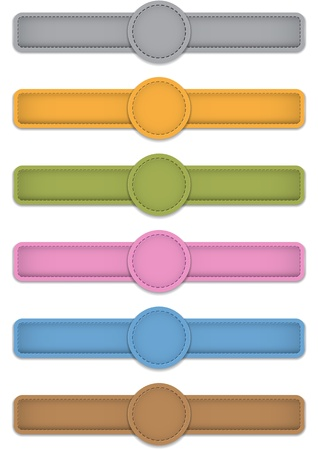 leather label: Blank colorful design templates made of leather. Vector illustration Illustration