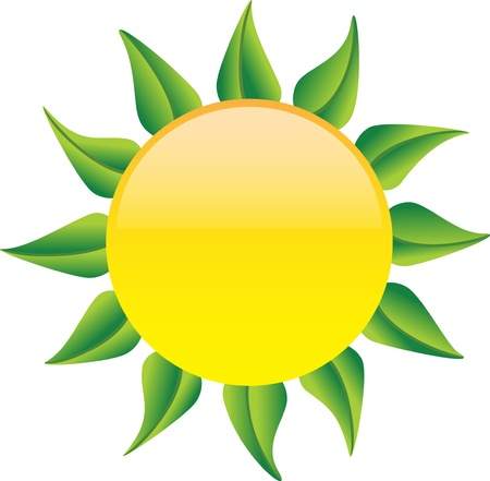 Glossy sun with green leaves instead of rays on white background. Vector illustration Stock Vector - 17905186