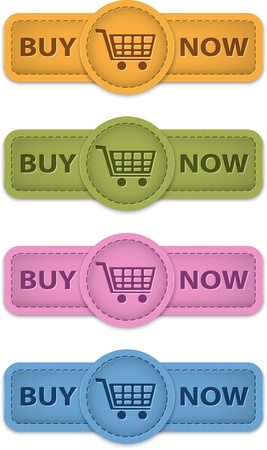 purchase order: Buy Now web labels for shopping made of leather. Vector illustration